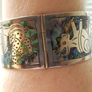 Jewelry - Vintage Sterling silver bracelet wt inlaid abalone